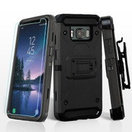 3-IN-1 Kinetic Hybrid Armor Case with Holster and Tempered Glass Screen Protector for Samsung Galaxy S8 Active - Black