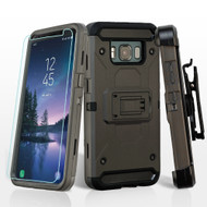 3-IN-1 Kinetic Hybrid Armor Case + Holster + Tempered Glass Screen Protector for Samsung Galaxy S8 Active - Dark Grey