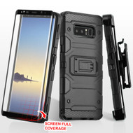 Military Grade Storm Tank Case + Holster + 3D Tempered Glass Screen Protector for Samsung Galaxy Note 8 - Black
