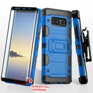 Military Grade Storm Tank Case + Holster + 3D Tempered Glass Screen Protector for Samsung Galaxy Note 8 - Blue