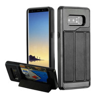 Roll Up Card Wallet Hybrid Kickstand Case for Samsung Galaxy Note 8 - Black
