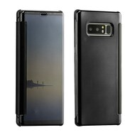 Electroplating Book-Style Case with Semi-Transparent Flip Cover for Samsung Galaxy Note 8 - Black