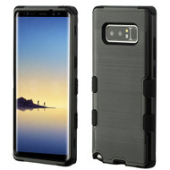 Military Grade Certified Brushed TUFF Hybrid Armor Case for Samsung Galaxy Note 8 - Black