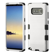Military Grade Certified Brushed TUFF Hybrid Armor Case for Samsung Galaxy Note 8 - Silver
