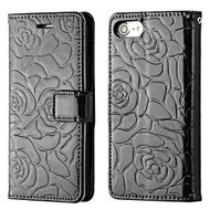 Embossed Rose Design Patent Leather Wallet Case for iPhone 8 / 7 - Black