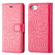 Embossed Rose Design Patent Leather Wallet Case for iPhone 8 / 7 - Hot Pink
