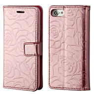 Embossed Rose Design Patent Leather Wallet Case for iPhone 8 / 7 - Rose Gold