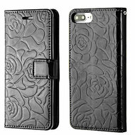 Embossed Rose Design Patent Leather Wallet Case for iPhone 8 Plus / 7 Plus - Black