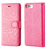 Embossed Rose Design Patent Leather Wallet Case for iPhone 8 Plus / 7 Plus - Hot Pink
