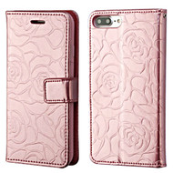 Embossed Rose Design Patent Leather Wallet Case for iPhone 8 Plus / 7 Plus - Rose Gold