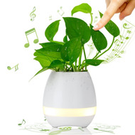 Smart Touch Music Flowerpot Bluetooth Wireless Speaker - White