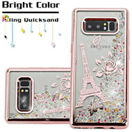 Electroplating Quicksand Glitter Transparent Case for Samsung Galaxy Note 8 - Eiffel Tower Rose Gold
