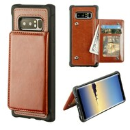 Pocket Wallet Case with Stand for Samsung Galaxy Note 8 - Brown