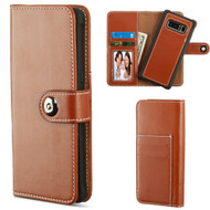 2-IN-1 Premium Leather Wallet with Removable Magnetic Case for Samsung Galaxy Note 8 - Brown