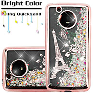 Electroplating Quicksand Glitter Transparent Case for Motorola Moto E4 - Eiffel Tower Rose Gold