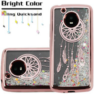 Electroplating Quicksand Glitter Transparent Case for Motorola Moto E4 - Dreamcatcher Rose Gold