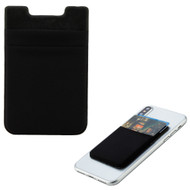 Micro-Fiber Adhesive Dual Slot Card Pocket Pouch - Black