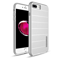 Haptic Dots Texture Anti-Slip Hybrid Armor Case for iPhone 8 Plus / 7 Plus - Silver