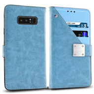 Cosmopolitan Leather Canvas Wallet Case for Samsung Galaxy Note 8 - Blue