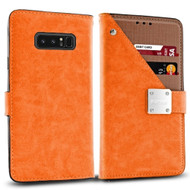 Cosmopolitan Leather Canvas Wallet Case for Samsung Galaxy Note 8 - Orange