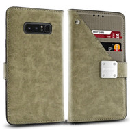 Cosmopolitan Leather Canvas Wallet Case for Samsung Galaxy Note 8 - Grey