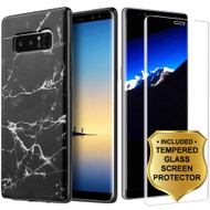 Marble TPU Case and 3D Tempered Glass Screen Protector for Samsung Galaxy Note 8 - Black