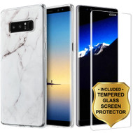 Marble TPU Case and 3D Tempered Glass Screen Protector for Samsung Galaxy Note 8 - White
