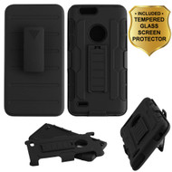 *SALE* Robust Armor Stand Protector Cover + Holster + Tempered Glass Screen Protector for ZTE Blade Z Max - Black
