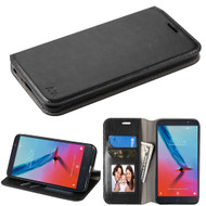 Book-Style Leather Folio Case for ZTE Blade Z Max - Black