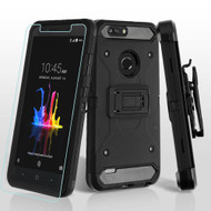 3-IN-1 Kinetic Hybrid Armor Case with Holster and Tempered Glass Screen Protector for ZTE Blade Z Max - Black