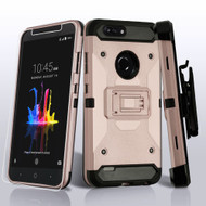 3-IN-1 Kinetic Hybrid Armor Case with Holster and Tempered Glass Screen Protector for ZTE Blade Z Max - Rose Gold