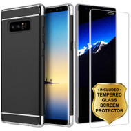 GripTech 3-Piece Chrome Frame Case and 3D Tempered Glass Screen Protector for Samsung Galaxy Note 8 - Black