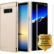 GripTech 3-Piece Chrome Frame Case and 3D Tempered Glass Screen Protector for Samsung Galaxy Note 8 - Gold