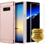GripTech 3-Piece Chrome Frame Case and 3D Tempered Glass Screen Protector for Samsung Galaxy Note 8 - Rose Gold