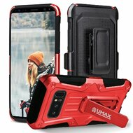 Heavy Duty Dual Layer Hybrid Armor Case with Holster for Samsung Galaxy Note 8 - Red