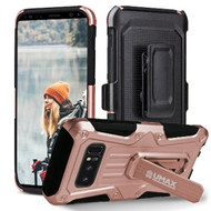 Heavy Duty Dual Layer Hybrid Armor Case with Holster for Samsung Galaxy Note 8 - Rose Gold