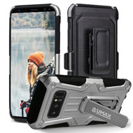 Heavy Duty Dual Layer Hybrid Armor Case with Holster for Samsung Galaxy Note 8 - Silver