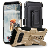 Heavy Duty Dual Layer Hybrid Armor Case with Holster for Samsung Galaxy Note 8 - Gold