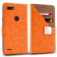 Cosmopolitan Leather Canvas Wallet Case for ZTE Blade Z Max - Orange