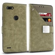 Cosmopolitan Leather Canvas Wallet Case for ZTE Blade Z Max - Grey