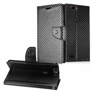Diary Leather Wallet Case for ZTE Blade Z Max - Carbon Fiber