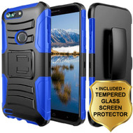 Advanced Armor Hybrid Kickstand Case + Holster + Tempered Glass Screen Protector for ZTE Blade Z Max - Blue