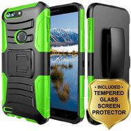 Advanced Armor Hybrid Kickstand Case + Holster + Tempered Glass Screen Protector for ZTE Blade Z Max - Green