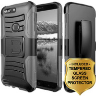 Advanced Armor Hybrid Kickstand Case + Holster + Tempered Glass Screen Protector for ZTE Blade Z Max - Grey