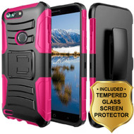 Advanced Armor Hybrid Kickstand Case + Holster + Tempered Glass Screen Protector for ZTE Blade Z Max - Hot Pink