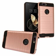 Brushed Hybrid Armor Case for ZTE Blade Z Max - Rose Gold