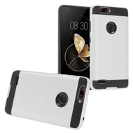 Brushed Hybrid Armor Case for ZTE Blade Z Max - Silver