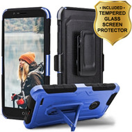 3-IN-1 Heavy Duty Hybrid Armor Case with Holster and Tempered Glass Screen Protector for ZTE Blade Z Max - Blue