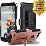 3-IN-1 Heavy Duty Hybrid Armor Case with Holster and Tempered Glass Screen Protector for ZTE Blade Z Max - Rose Gold