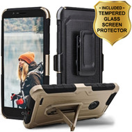 3-IN-1 Heavy Duty Hybrid Armor Case with Holster and Tempered Glass Screen Protector for ZTE Blade Z Max - Gold